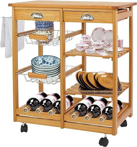 F2C Wooden Rolling Kitchen Island Trolley Cart Storage Cart Rack Shelf Organizer W/Drawers Wooden Kitchen Island