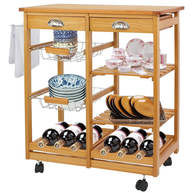 F2C Wooden Rolling Kitchen Island Trolley Cart Storage Cart Rack Shelf Organizer W Drawers Wooden Kitchen Island