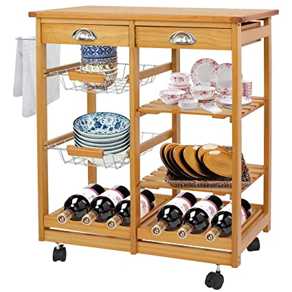 SUPER DEAL Multi Purpose Wood Rolling Kitchen Island Trolley W/Drawer  Shelves Basket