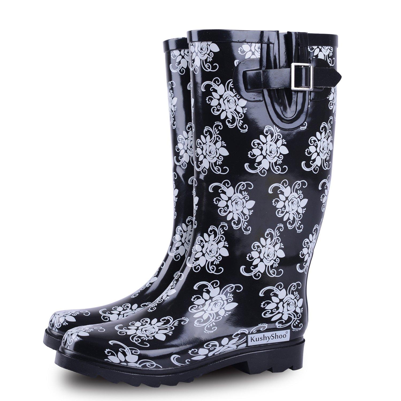 KushyShoo Women's Mid Calf Waterproof Rubber Flower Rain Boots with Lace