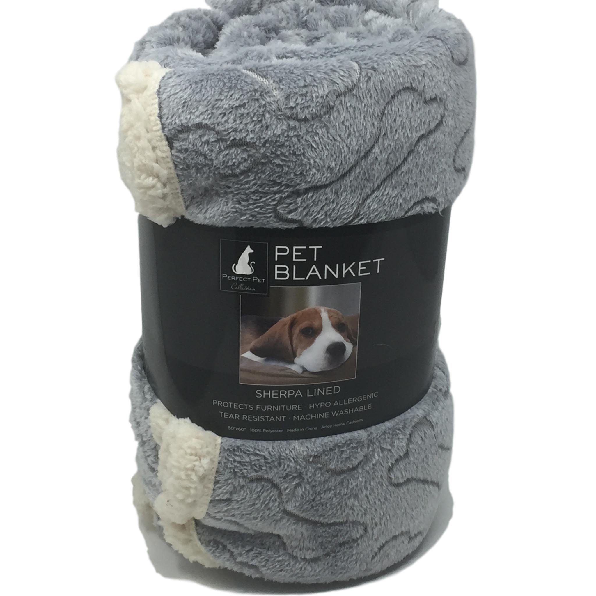 Plush Pet Throw Blanket - Gray with Embosed Bones Sherpa Lined
