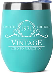 50th Birthday Gifts for Women Men - 1971 12 oz Mint Stainless Steel Tumbler - 50 Year Old Birthday Party Decorations - Fiftieth Anniversary Present for Parents Mom Dad - Fifty Class Reunion Ideas