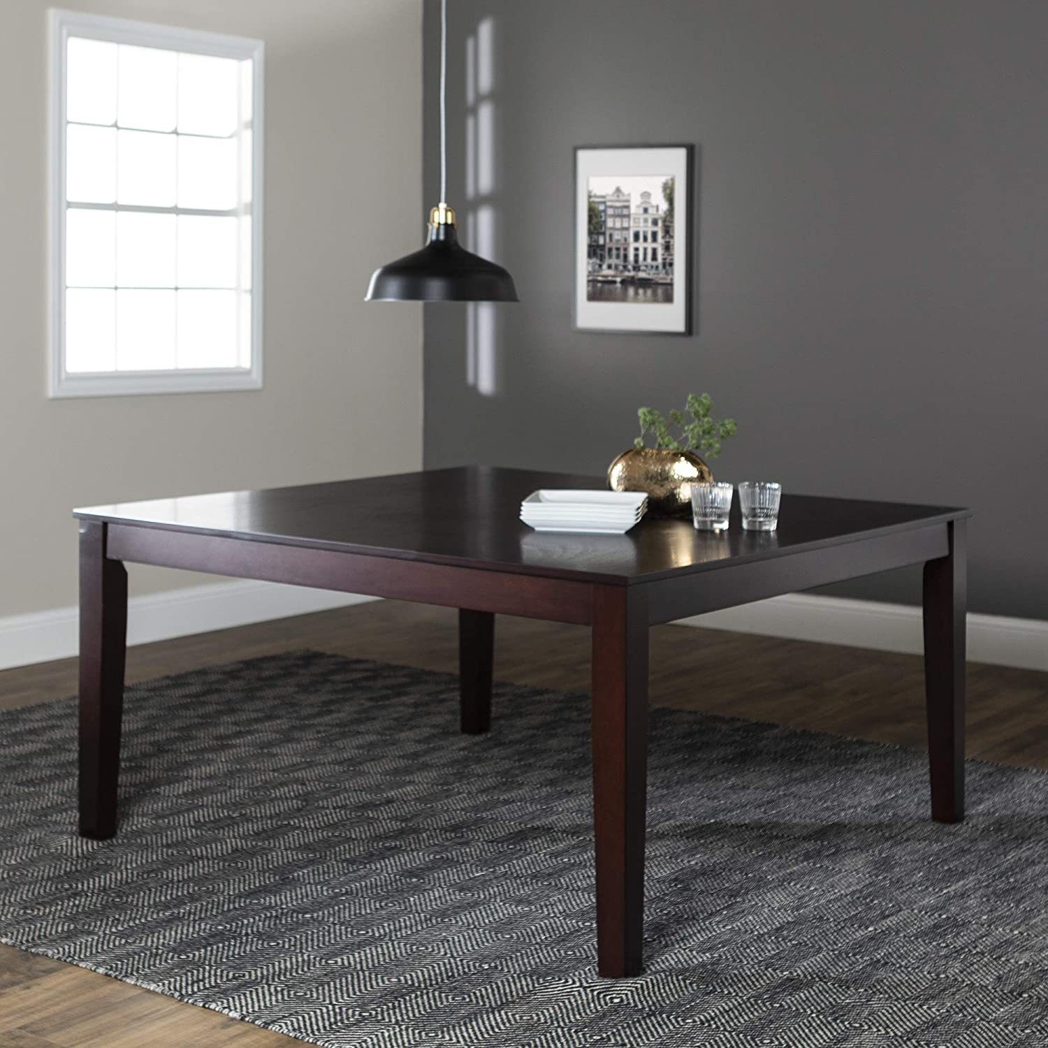 WE Furniture Square Wood Dining Table, 60 Espresso