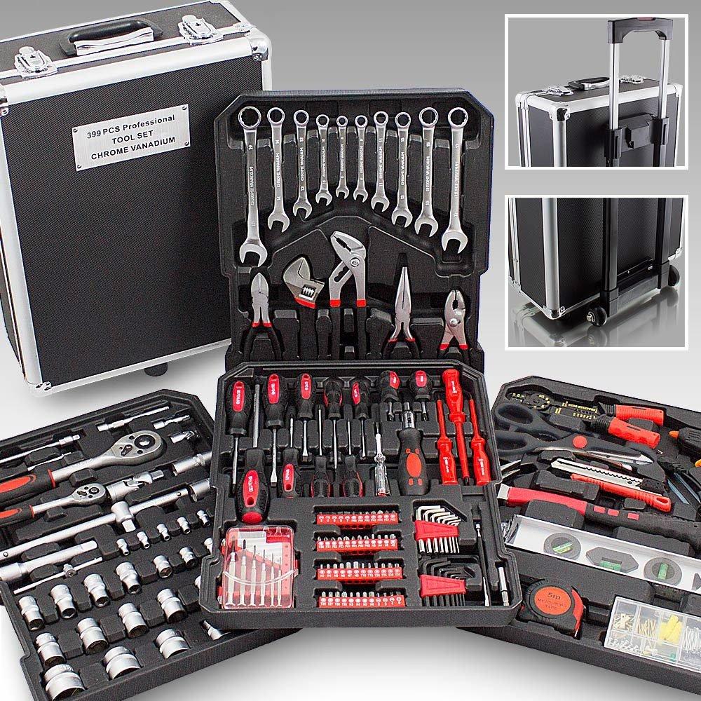 Mallette XXL avec 399 outils valise à roulettes coffret bricolage MonMobilierDesign