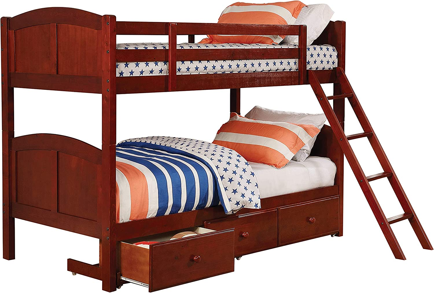 Coaster Home Furnishings Parker Twin Over Twin Panel Bunk Bed Chestnut