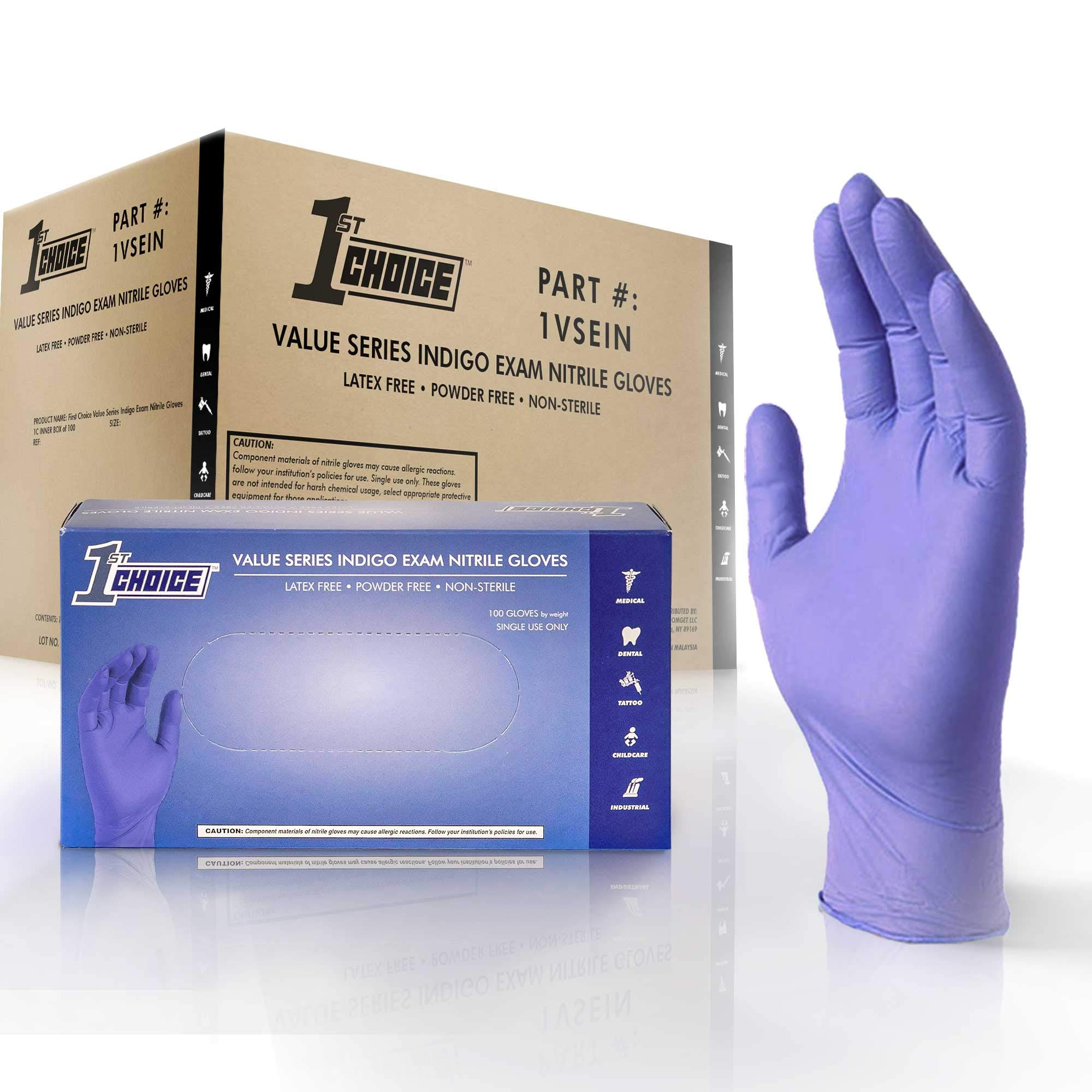 1st Choice Safety Light Indigo Nitrile 3.5 Mil Thick Disposable Gloves, Case of 1000 - Exam/Medical, Latex-Free, Value Series