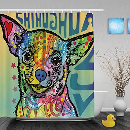 CafeTime Lovely Chihuahua Shower Curtains Lightness Color Art Dog Print Bathroom Waterproof Polyester Fabric