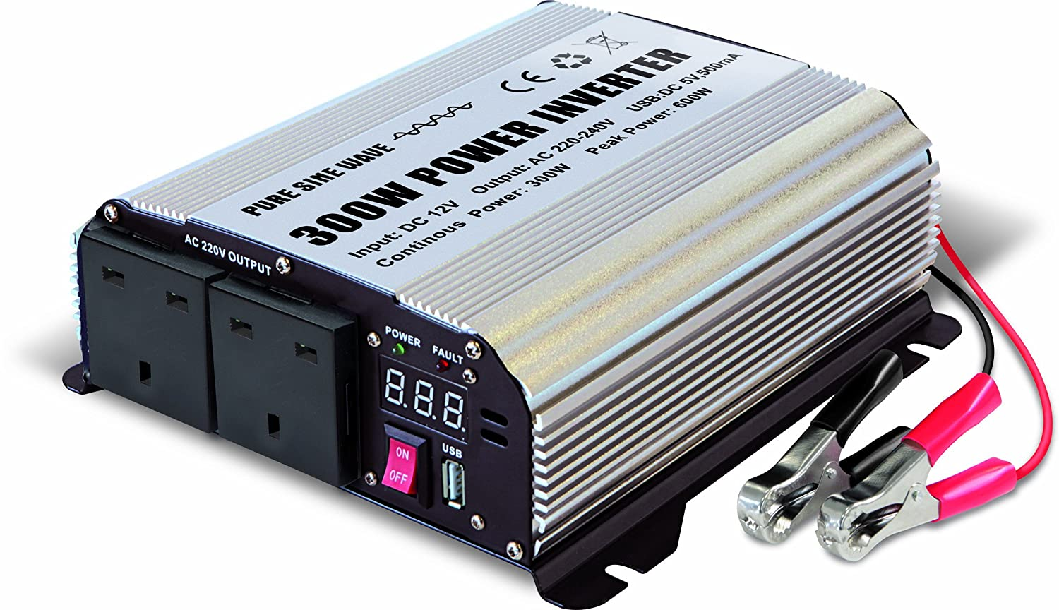 GYS PSW 8300 12-240V 300W Power Inverter with Two 3-Pin Plug Socket and USB Port
