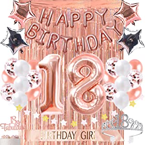 18th Birthday Decorations, Birthday Party Supplies Fabulous Cake Topper Happy Birthday foil Balloons Confetti Balloons for her Rose Gold Curtain Backdrop Props or Photos 18th Bday Crystal Crown
