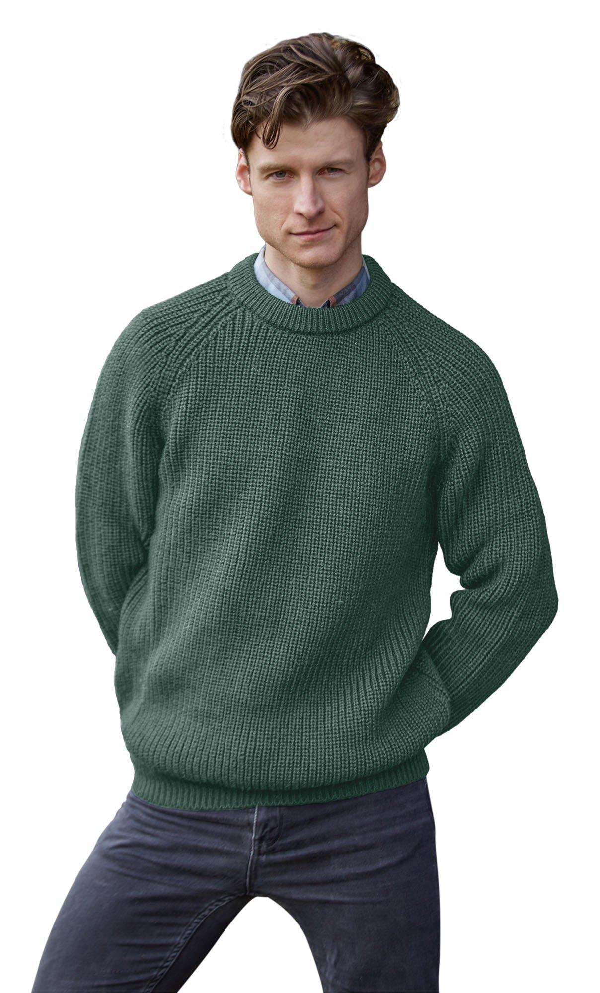 100% Pure Irish Wool Fishermans Rib Crew Neck Sweater(Medium Moss)