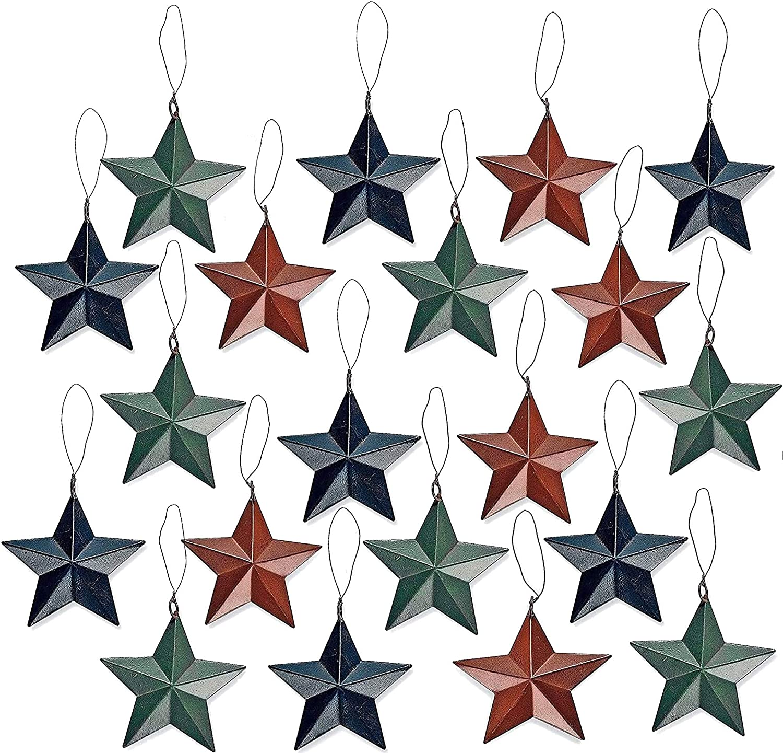 4E's Novelty 24 Rustic Tin Barn Star Christmas Tree Ornaments, Bulk, Fun Gift, Country Rustic Primitive Decor