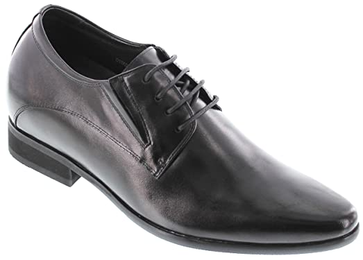 D11001-2.8 inches Taller - height Increasing Elevator Shoes - Black Lace-up Dress Formal Shoes