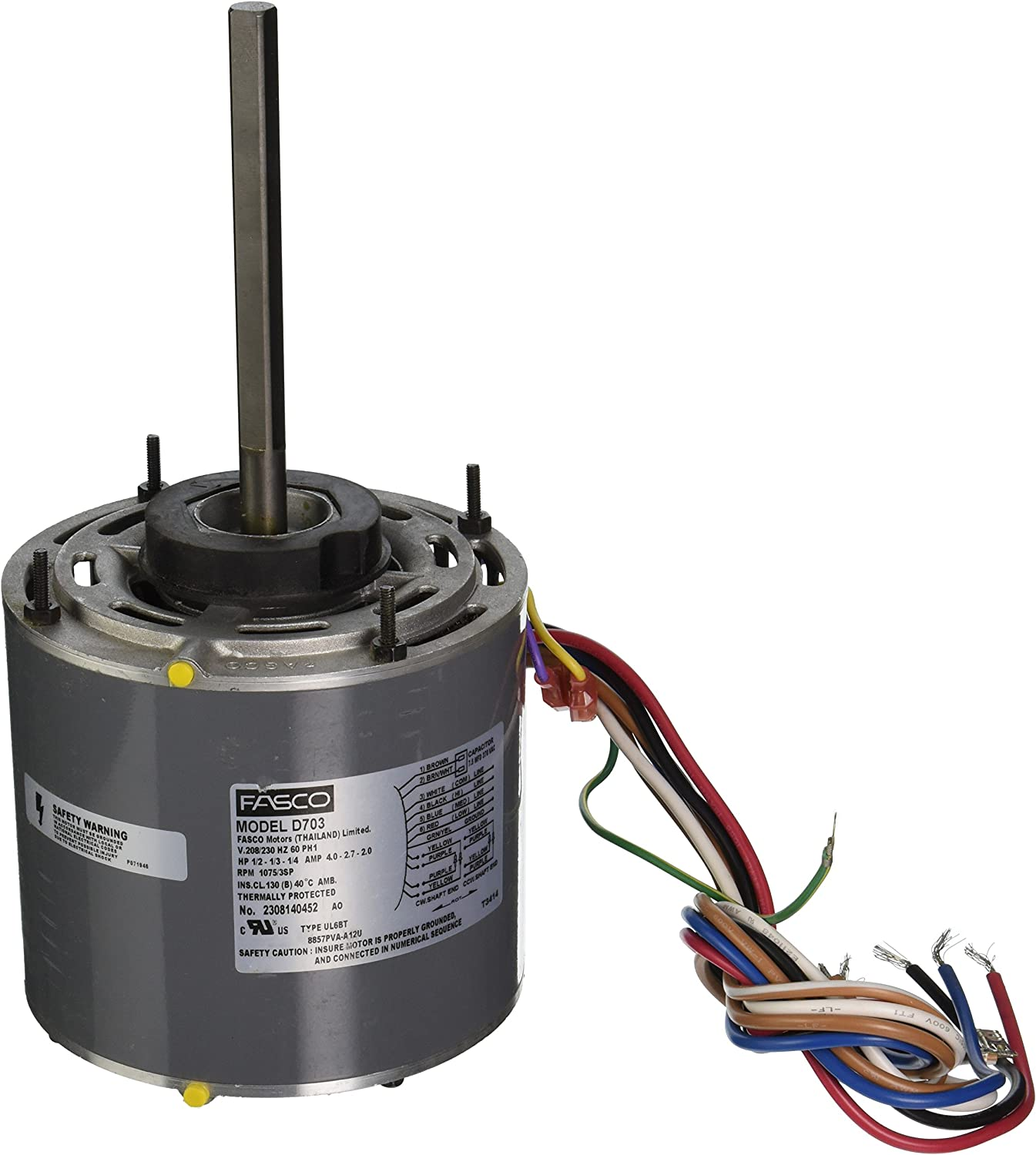 """Fasco D703 5.6"""" Frame Open Ventilated Permanent Split Capacitor Direct Drive Blower Motor with Sleeve Bearing, 1/2-1/3-1/4HP, 1075rpm, 208-230V, 60Hz, 4-2.7-2 amps"""