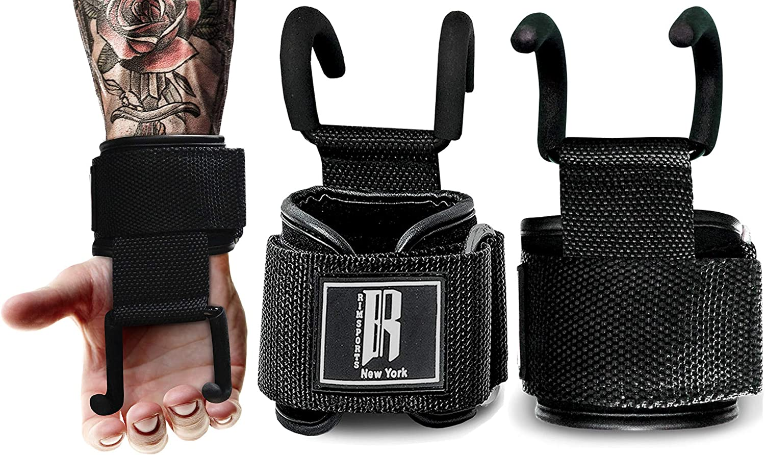 Weight Lifting Hooks Gym Training Deadlift Wrist Support Grips Straps Wrap Glove