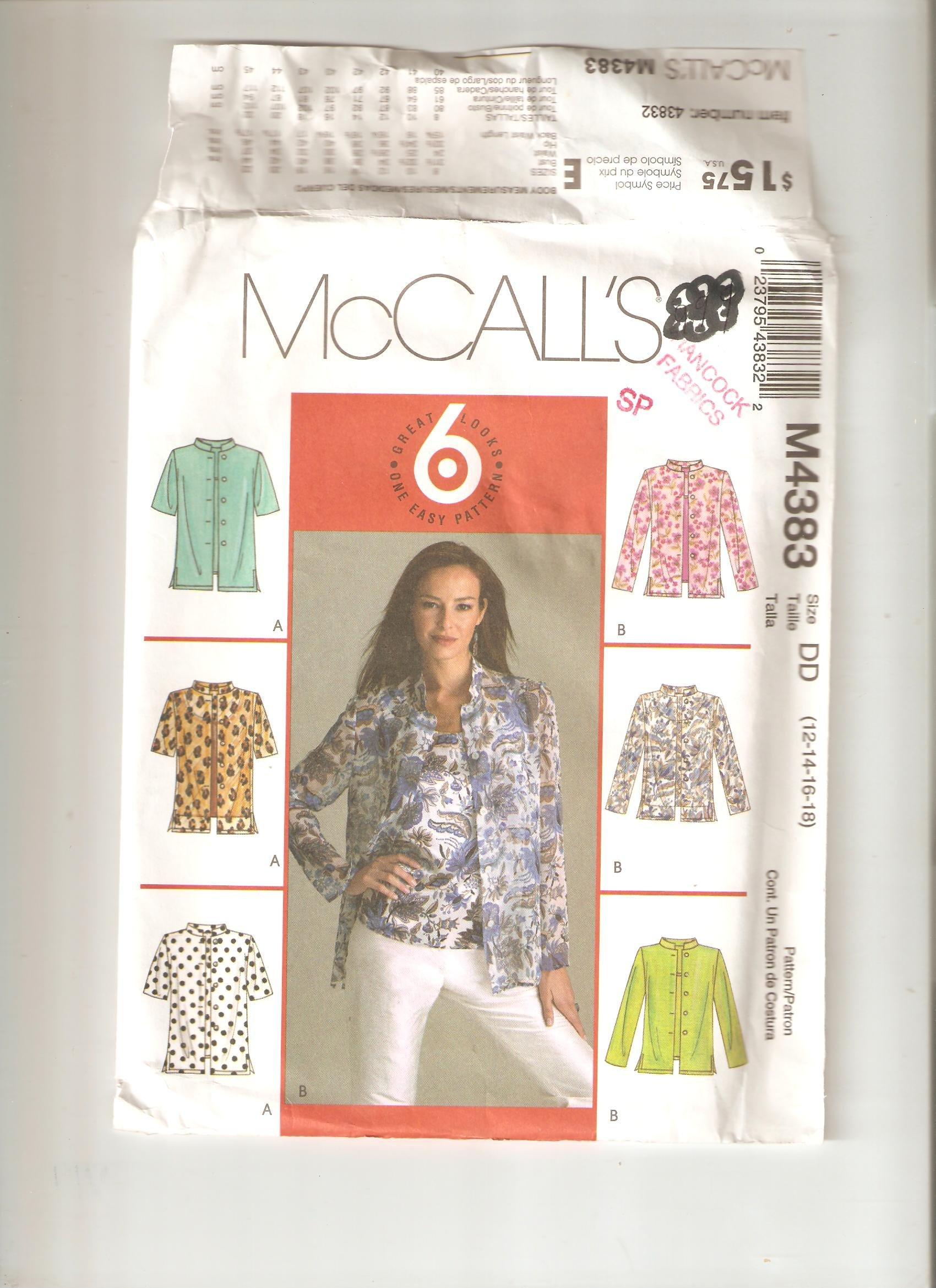 Download McCall's pattern M4383 (Size DD / 12,14,16,18) PDF