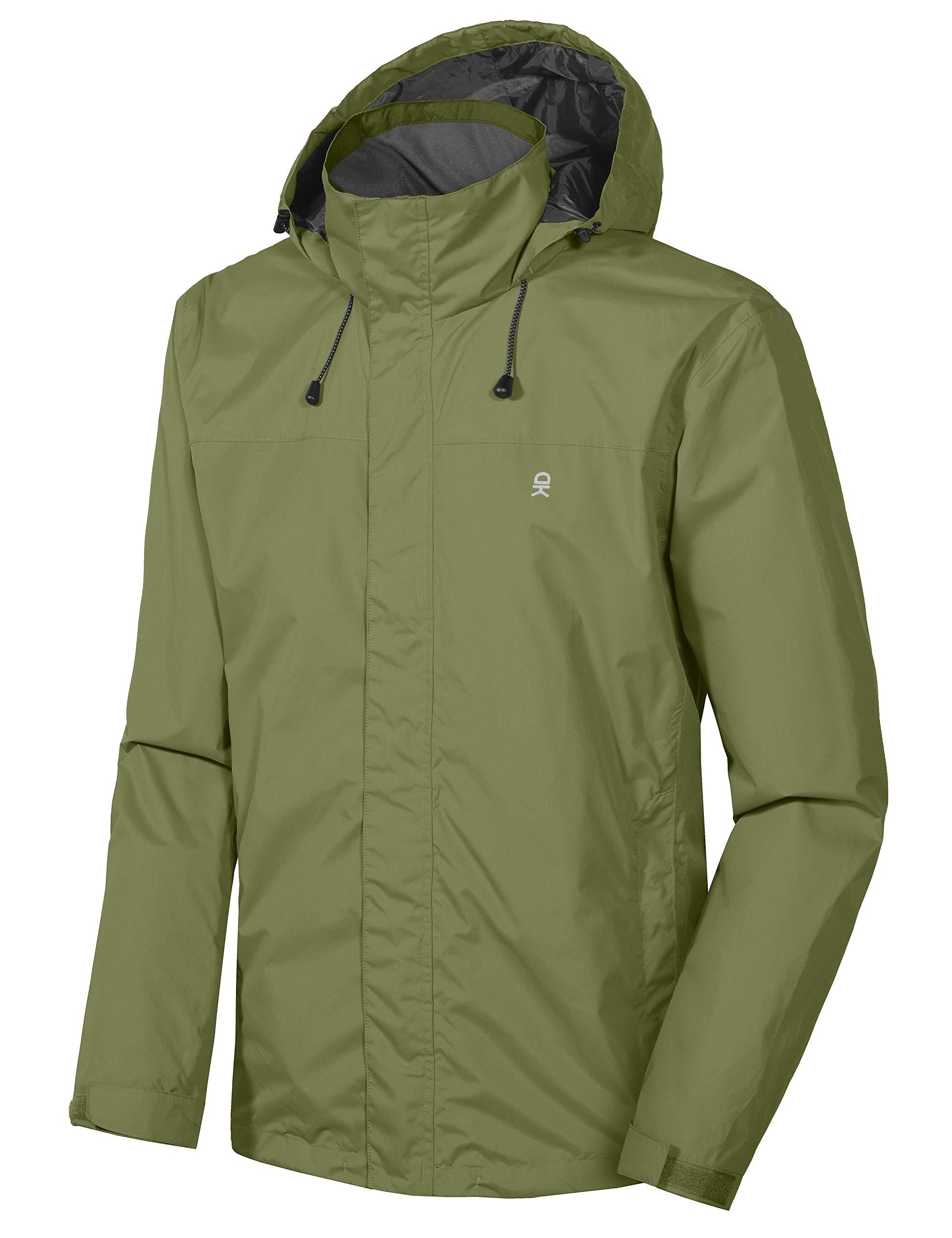 Little Donkey Andy Men's Waterproof Mountain Jacket, Rain Jacket Olive Size L by Little Donkey Andy