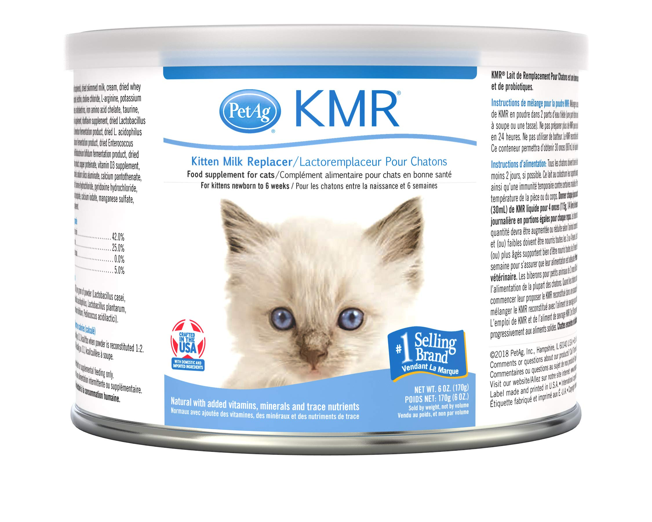 PetAg KMR Kitten Milk Replacer Powder - Prebiotics and Probiotics - Newborn to Six Weeks - Kitten Formula - 6 oz