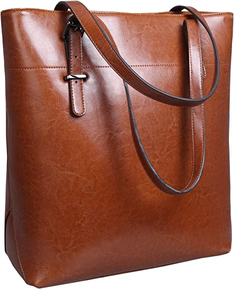 Iswee Vintage Leather Shoulder Bag Women Tote Handbag Ladies Designer Purse Bucket Bag (Brown)