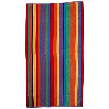 Cotton Craft - Oversized Jacquard Double Woven Velour Beach Towel 39x68 - Summer of Siam Multi Stripe Yellow - Thick Plush Luxurious Velour Pile - 450 GSM - 100% Pure Ringspun Cotton- Brilliant Colors