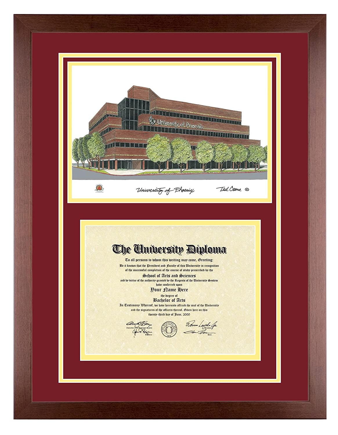 Amazon.com: UNIVERSITY OF PHOENIX Diploma Frame with Artwork in ...