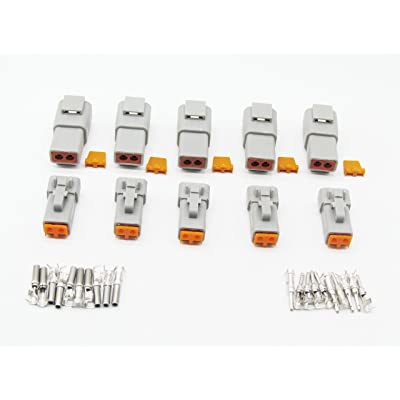 CNKF 5 Sets DTP Series PLUG 2 position male female auto connector DTP04-2P DTP06-2S: Automotive