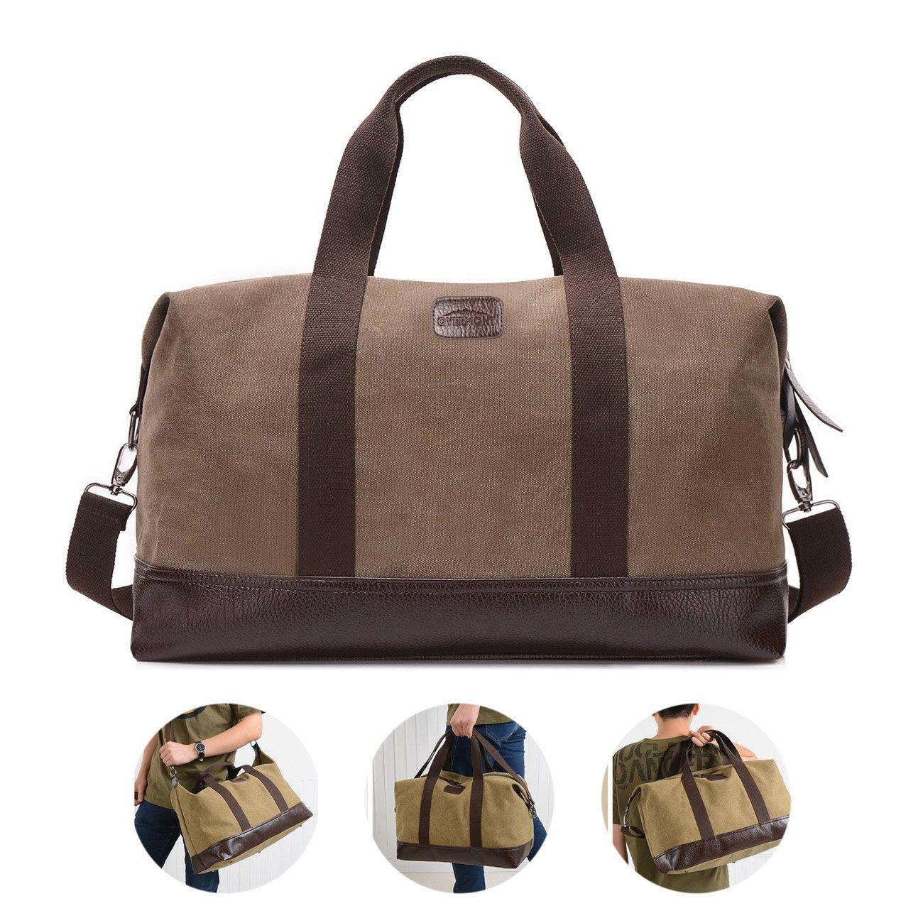 Overmont K1 bolsa de viaje de cuero de lona portátil con gran capacidad para excursión actividades deportivas al aire libre o trabajo color caqui/negro/gris/verde del ejército/marrón