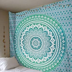 QuanCheng Indian Mandala Wall Hanging Tapestry Ombre Tapestry Hippie Bohemian Green Mandala Wall Hanging Tapestry Aesthetic Tapestry Psychedelic Trippy Tapestry for Bedroom Home Decor.71x91Inch