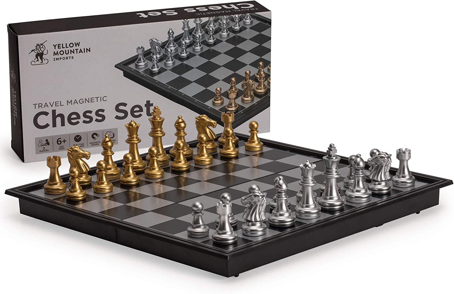Amazon Com Yellow Mountain Imports Travel Magnetic Chess Set 9 7 Inches Folding Portable And Educational Board Game Toys Games