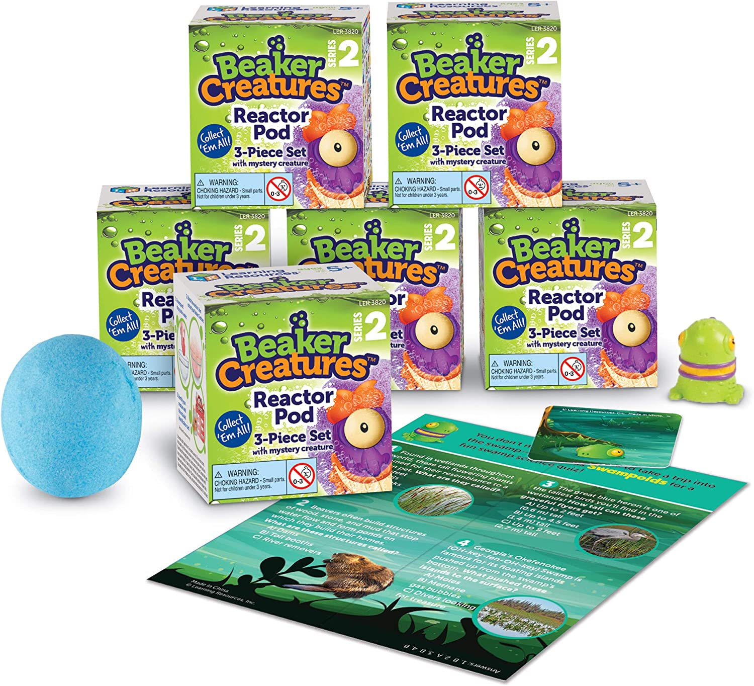 Learning Resources Beaker Creatures Series 2, Assorted Colors, Homeschool, STEM, 6-Pack Pods, Ages 5+