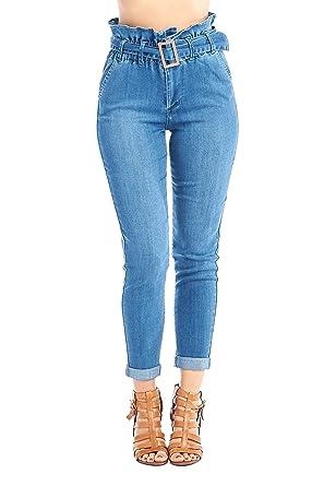 811e4ac0bb40 Khanomak Women s High-Rise Paper Bag Elastic Belted Waist Denim Long Slim  Skinny Jeans Pants at Amazon Women s Jeans store