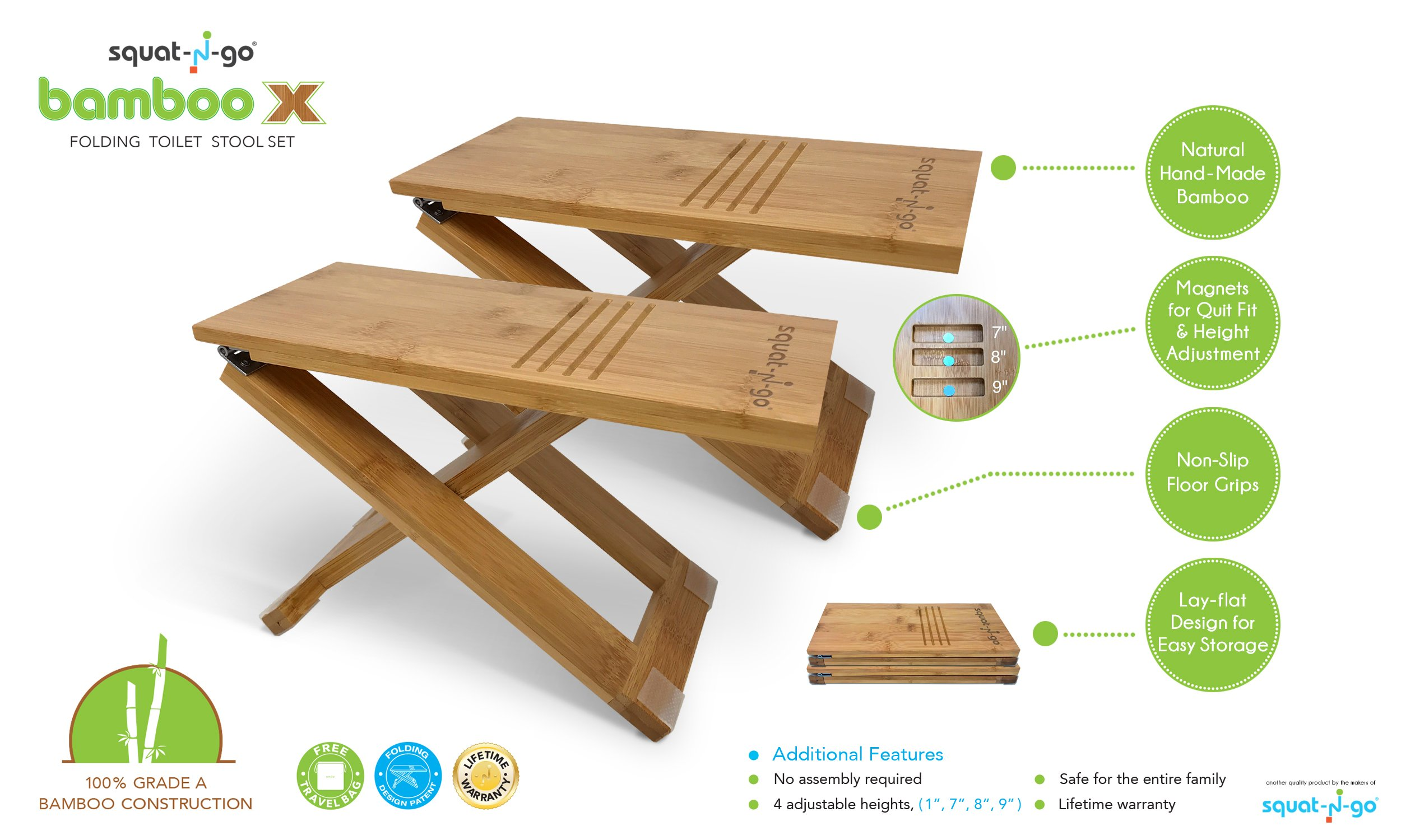 Squat N Go Bamboo X Toilet Stool | Fully Adjustable, Ultra Portable & Eco Friendly | Bonus Travel Bag Included by Squat N Go (Image #2)