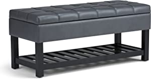 SIMPLIHOME Saxon 44 inch Wide Rectangle Storage Ottoman Bench with Open Bottom and Lift Top in Stone Grey Tufted Footrest Stool, Faux Leather for Living Room, Bedroom, Traditional