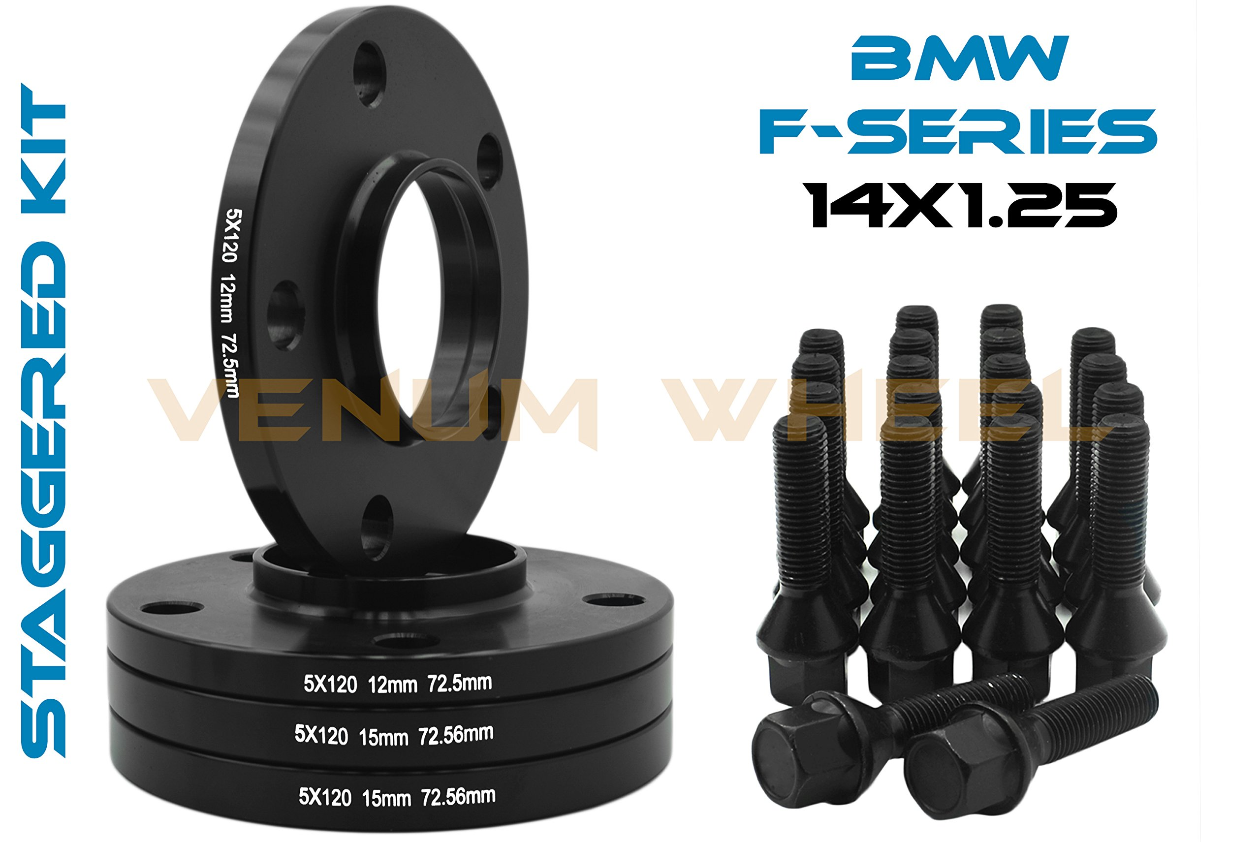 4 Pc BMW F-Series 12mm & 15mm Staggered Wheel Spacers Hub Centric 5x120 - 72.56 H.B - F30 F31 320 328 335 F80 M3 F32 F82 M4 435 F22 F23 228 235 F10 528 535 M5 F11