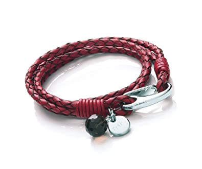 Tribal Steel 21cm 4-Strand, Turquoise Leather Bracelet for Women with Stainless Steel Shrimp Clasp