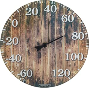 Springfield 98322T Barn Wood Glass (10-inch) Thermometer, Brown