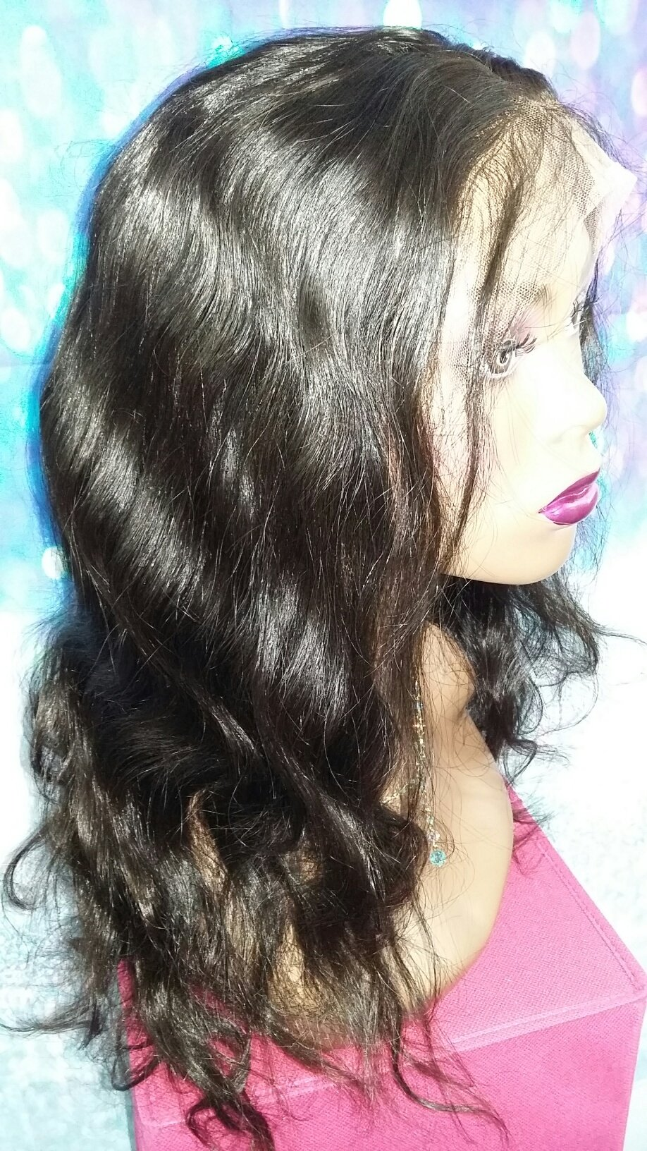 16 INCH HUMAN HAIR LACE FRONT FULL WIG INDIAN VIRGIN BODY WAVE GLUELESS