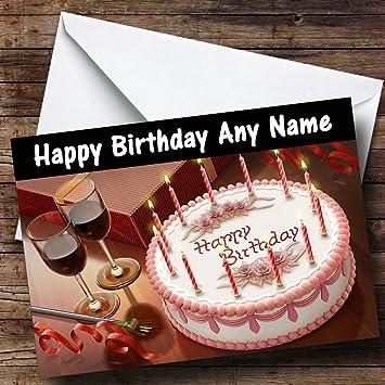 Swell Amazon Com Cake And Wine Personalized Birthday Greetings Card Funny Birthday Cards Online Aboleapandamsfinfo