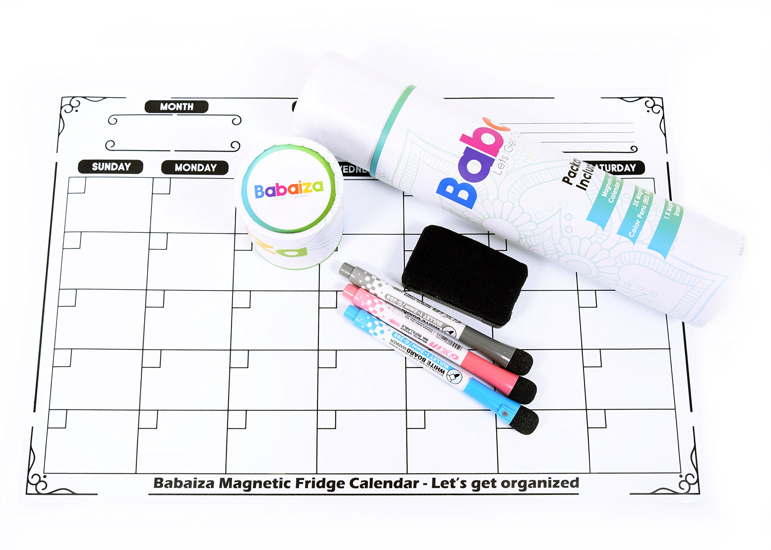 Babaiza Magnetic Dry Erase Calendar for Refrigerator | Fridge Whiteboard With Markers | Large Dry Erase Board for Fridge Dishwasher Dryer Metal Cabinet - Bonus 3 Pens and Eraser (17 X 11, White)