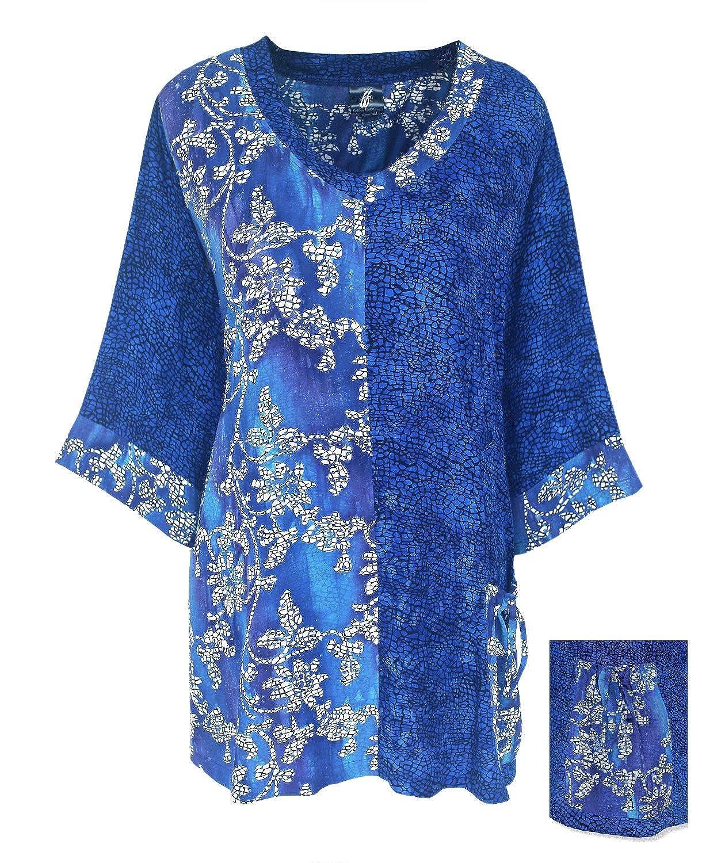 Blue Flower Mosaic Combination Womens Plus Size Top Long Sleeve Batik XL 1X 2X