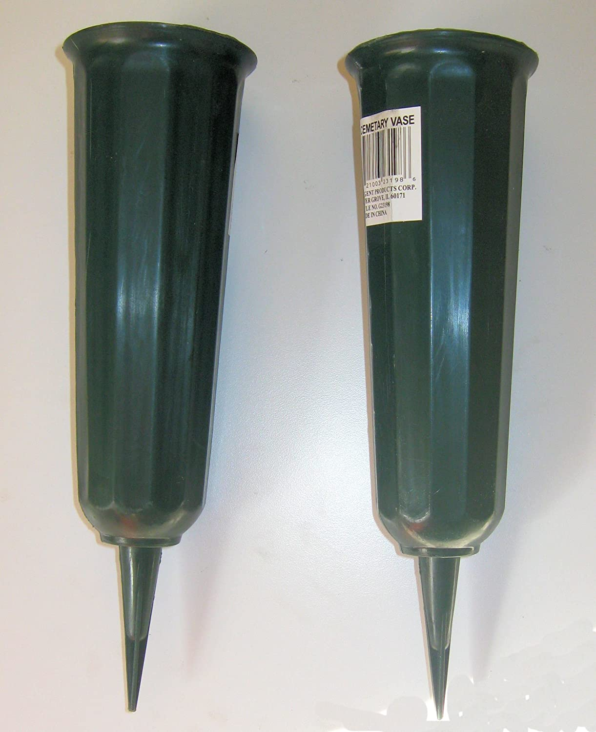 2 Pack Green 9.75 in Plastic Cemetery Vases Fun-Time Internation