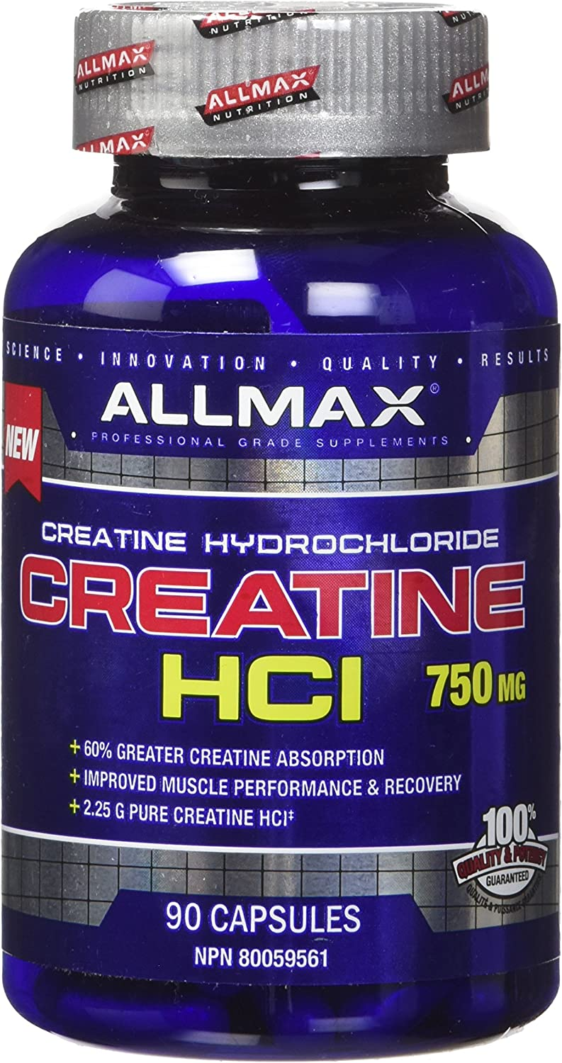ALLMAX CREATINE HCI, Dietary Supplement for both Men and Women, 750mg, 90 Count