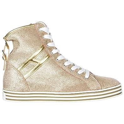 Hogan Shopping Donna Scarpe Sneakers R182 NERO bimba,the ORO