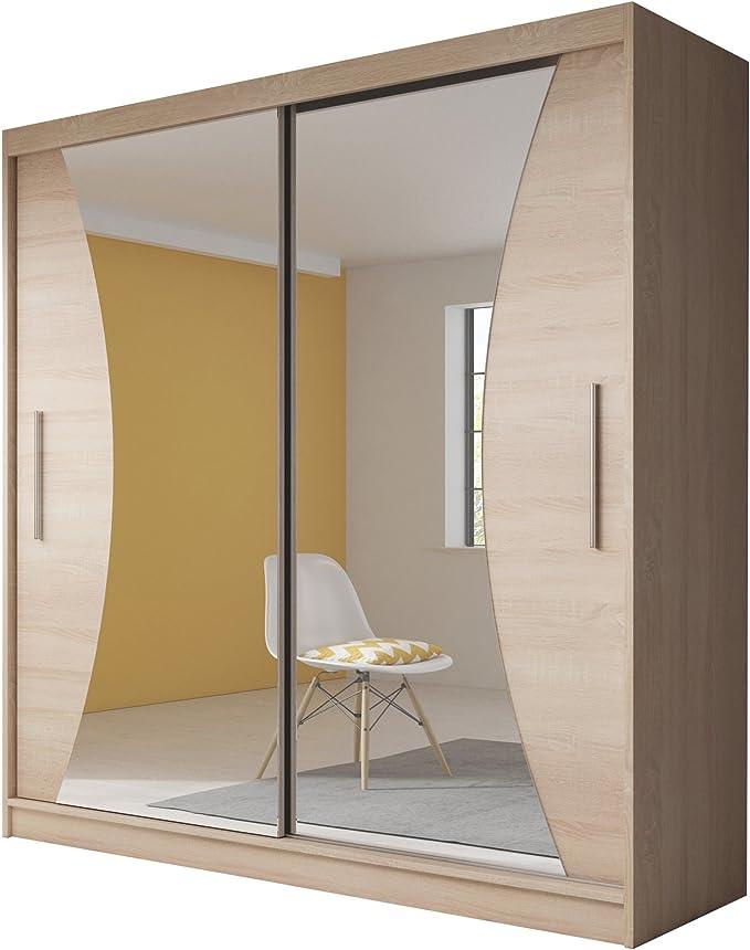 Armario moderno para dormitorio con puerta corredera «Bella 2», 183 cm, roble Sonoma y espejo: Amazon.es: Hogar