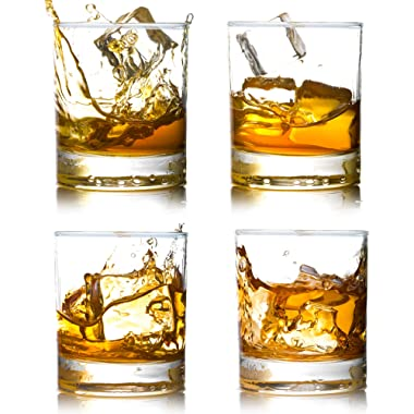 Whiskey Rocks Glasses with Heavy Base and Lead-Free Crystal for Vodka Bourbon Whisky Scotch Liquor 10 oz Set of 4 Gift for Him
