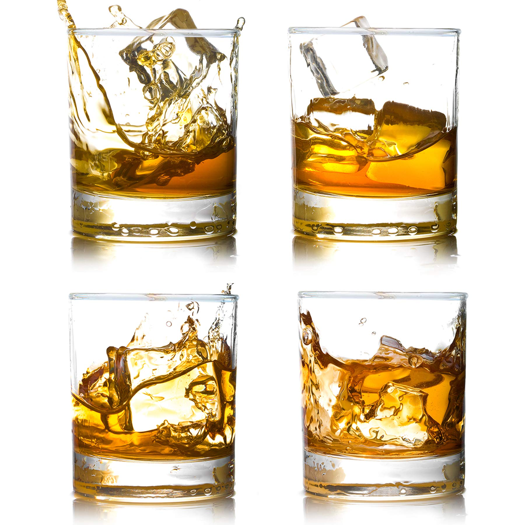 Whiskey Rocks Glasses with Heavy Base and Lead-Free Crystal for Vodka Bourbon Whisky Scotch Liquor 10 oz Set of 4 Fathers Day Gift for Him