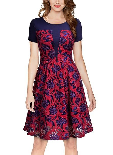 Miusol Vintage Encaje Floral Swing Coctel Vestido para Mujer Rojo Medium