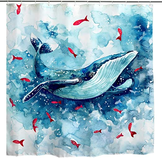 Animal Shower Curtain Watercolor Cute Fishes Print for Bathroom
