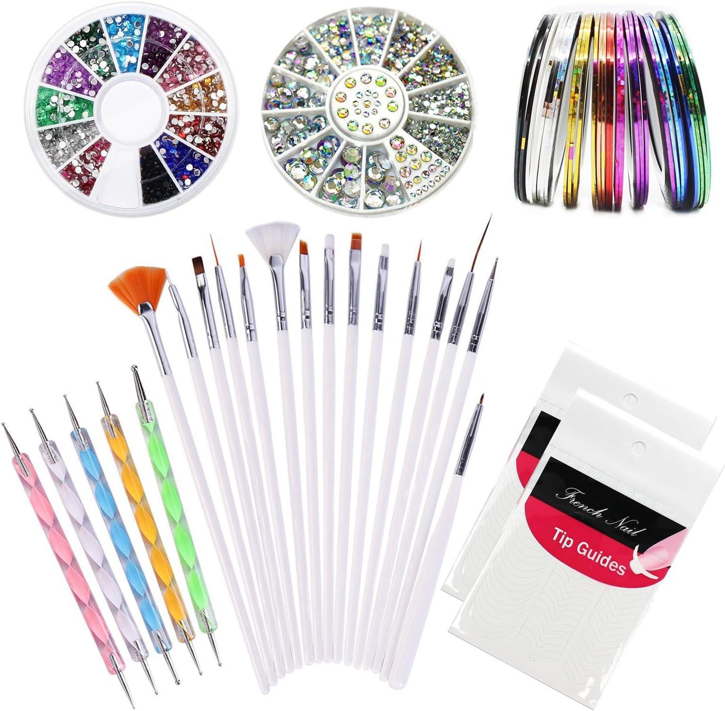 Kyerivs Kit de Accesorios de Decoración de Uñas 15pcs la pedicura Belleza Pintura, 5 Marbling Detalle de cepillo del polaco de la pluma que puntea el sistema,12 Colores de Diamantes de Uñas