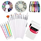 Kyerivs Kit de Nail Art Manucure Autocollants à Ongles-Diamant Décoration Ongle d'Art Nail Sticker et 15 Pinceaux Nailart