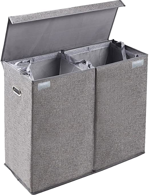 BirdRock Home Double Laundry Hamper With Lid And Removable LinersLinen|